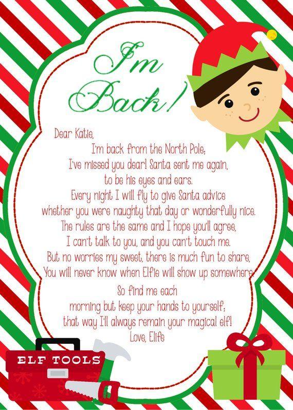 Elf I m Back DIY PRINTABLE Letter In 2020 Elf On Shelf