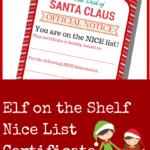 Elf On The Shelf Nice List Certificate Printable A