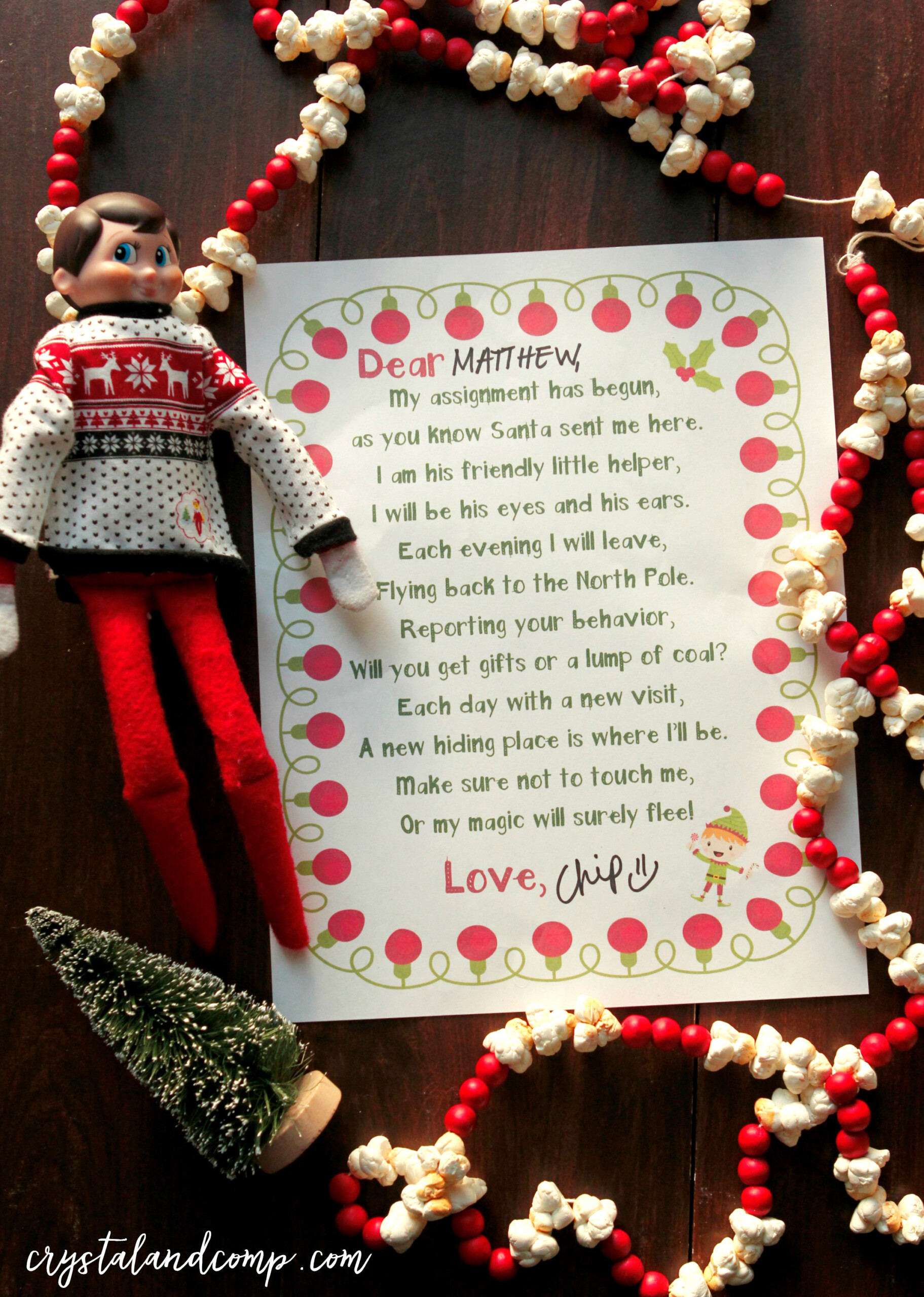 Elf On The Shelf Welcome Letter