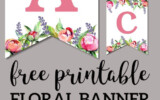 Floral Free Printable Alphabet Letters Banner Free