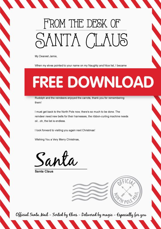 Free Personalised Santa Letter Personalized Letters From