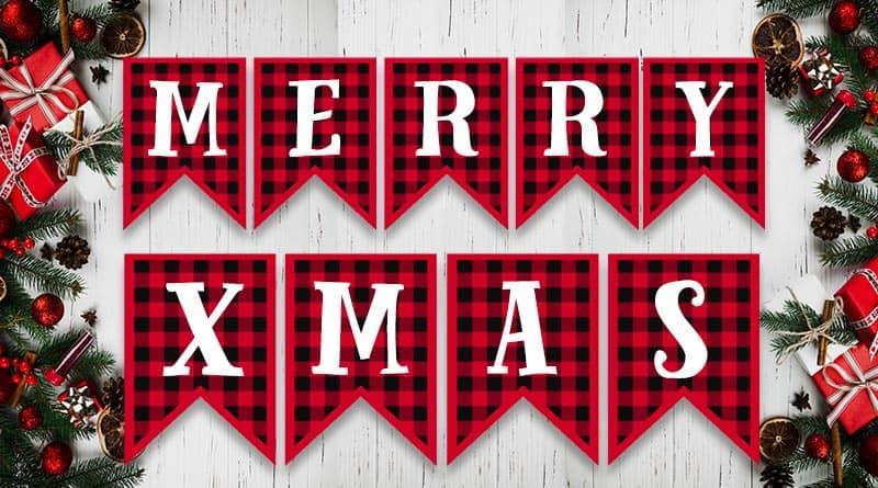 Free Printable Buffalo Plaid Christmas Banner Letters