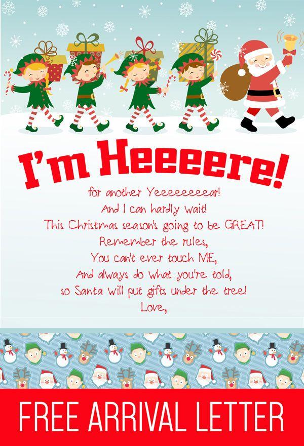 Free Printable Elf On The Shelf Arrival Letter Elf On