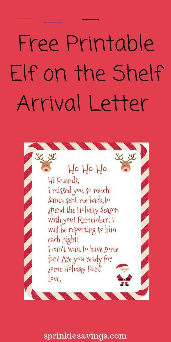 Free Printable Elf On The Shelf Arrival Letter