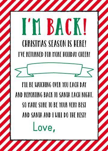 FREE Printable I m Back Elf On The Shelf Letter 5