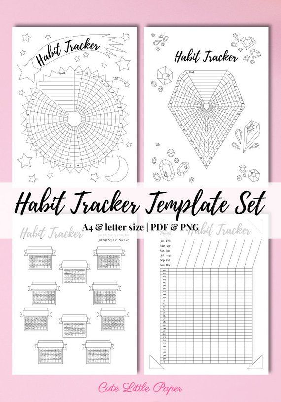 Habit Tracker Template Set Monthly 31 Day Routine Log