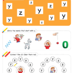 Letter Recognition Phonics Worksheet Y lowercase