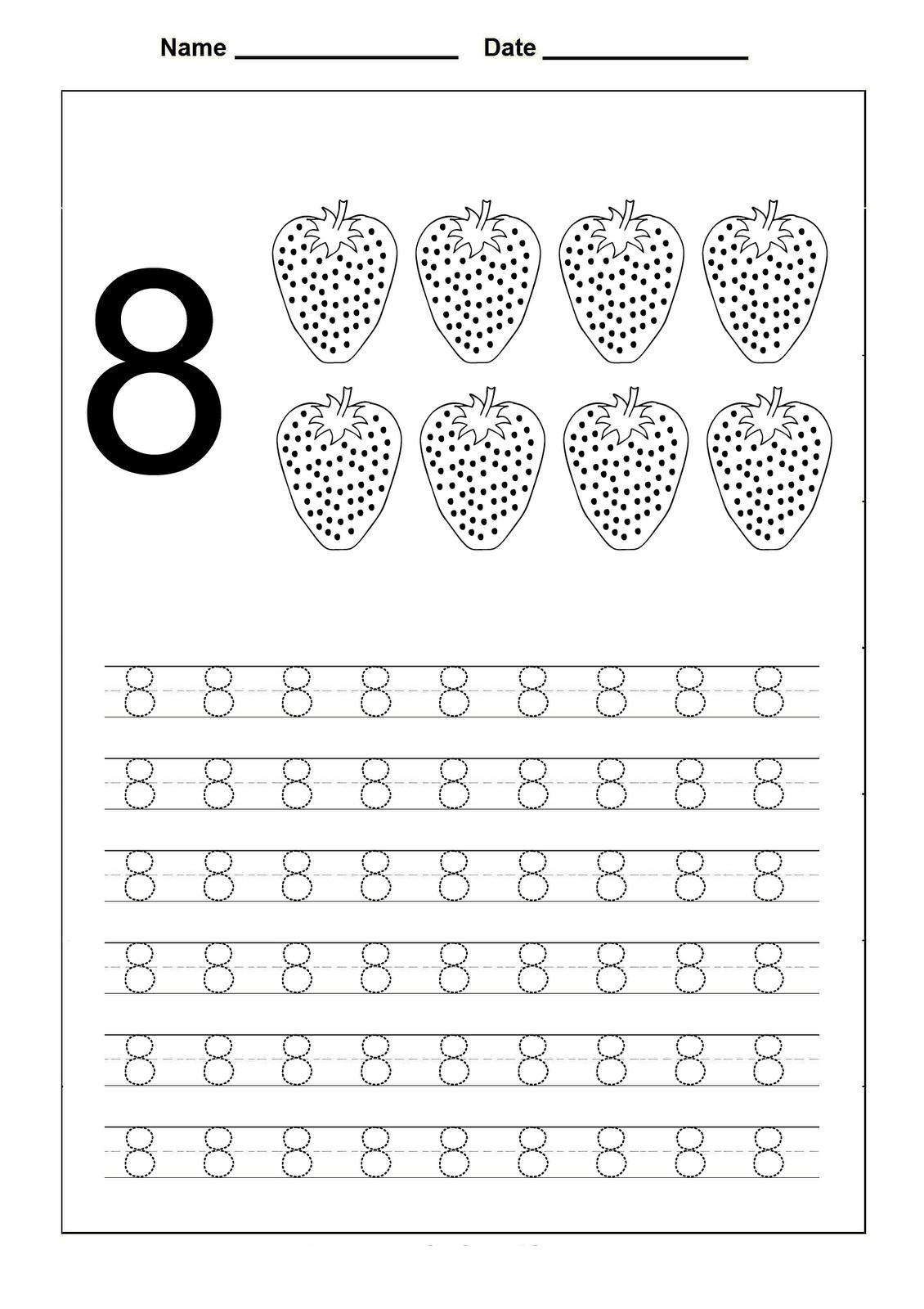 Number 8 Worksheets For Children Activity Shelter