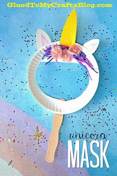 Paper Plate Unicorn Puppet Mask Kid Craft Unicorn