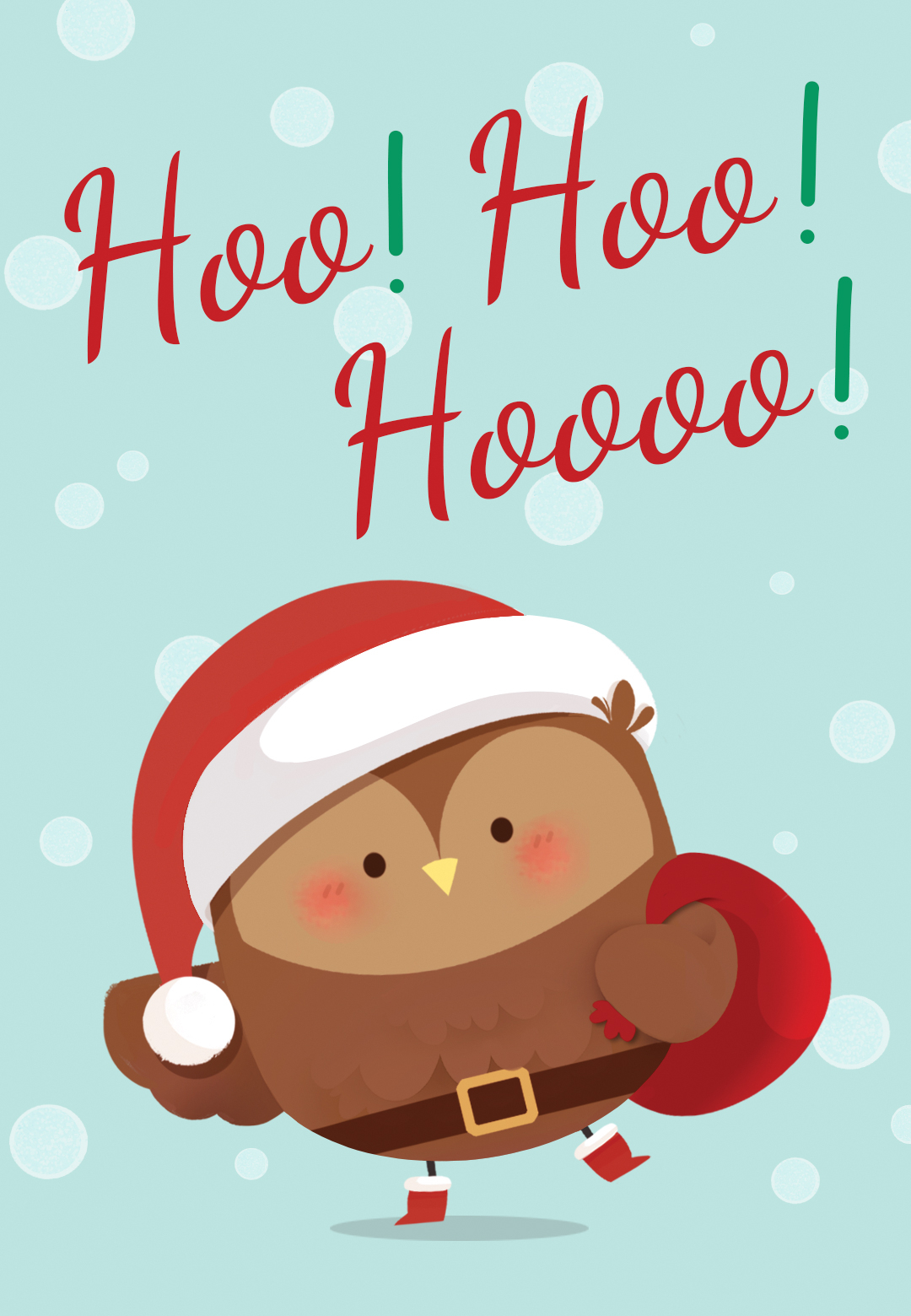Santa Owl Christmas Card Free Greetings Island