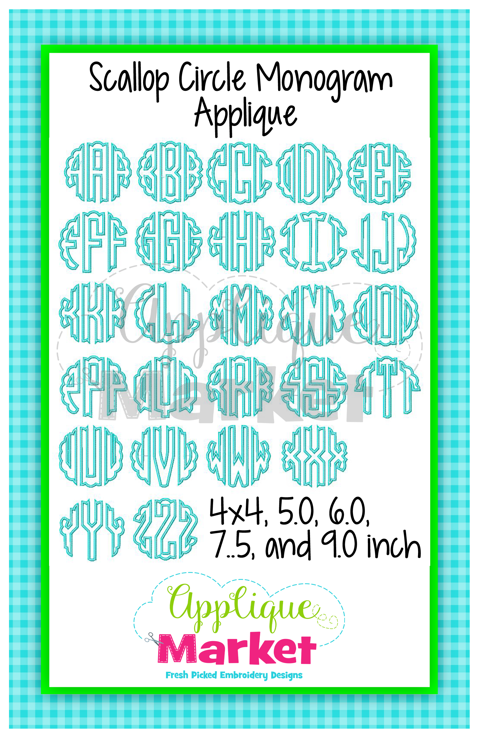 Scallop Circle Monogram Applique Design