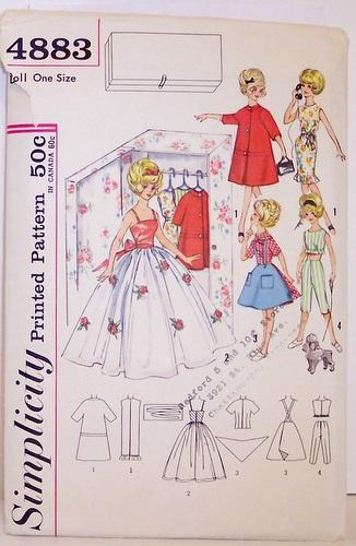 Vintage Simplicity Pattern 4883 Twelve Inch Barbie Style D