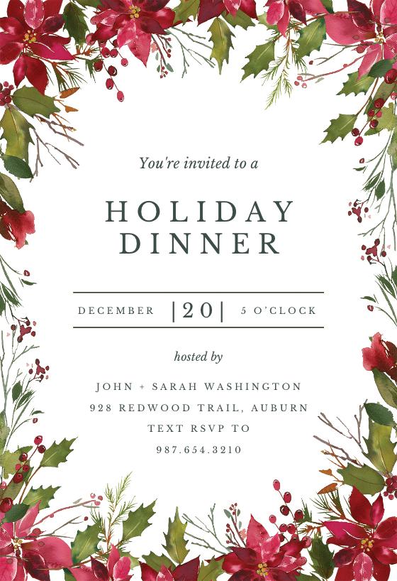 Watercolor Poinsettia Invitaci n De Navidad Gratis