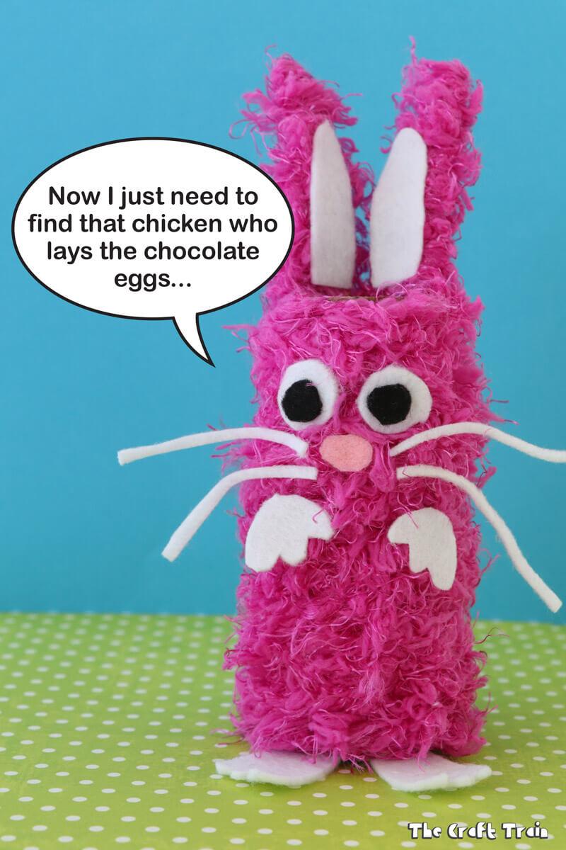 Yarn Easter Bunny Craft For Kids Using Cardboard Tubes
