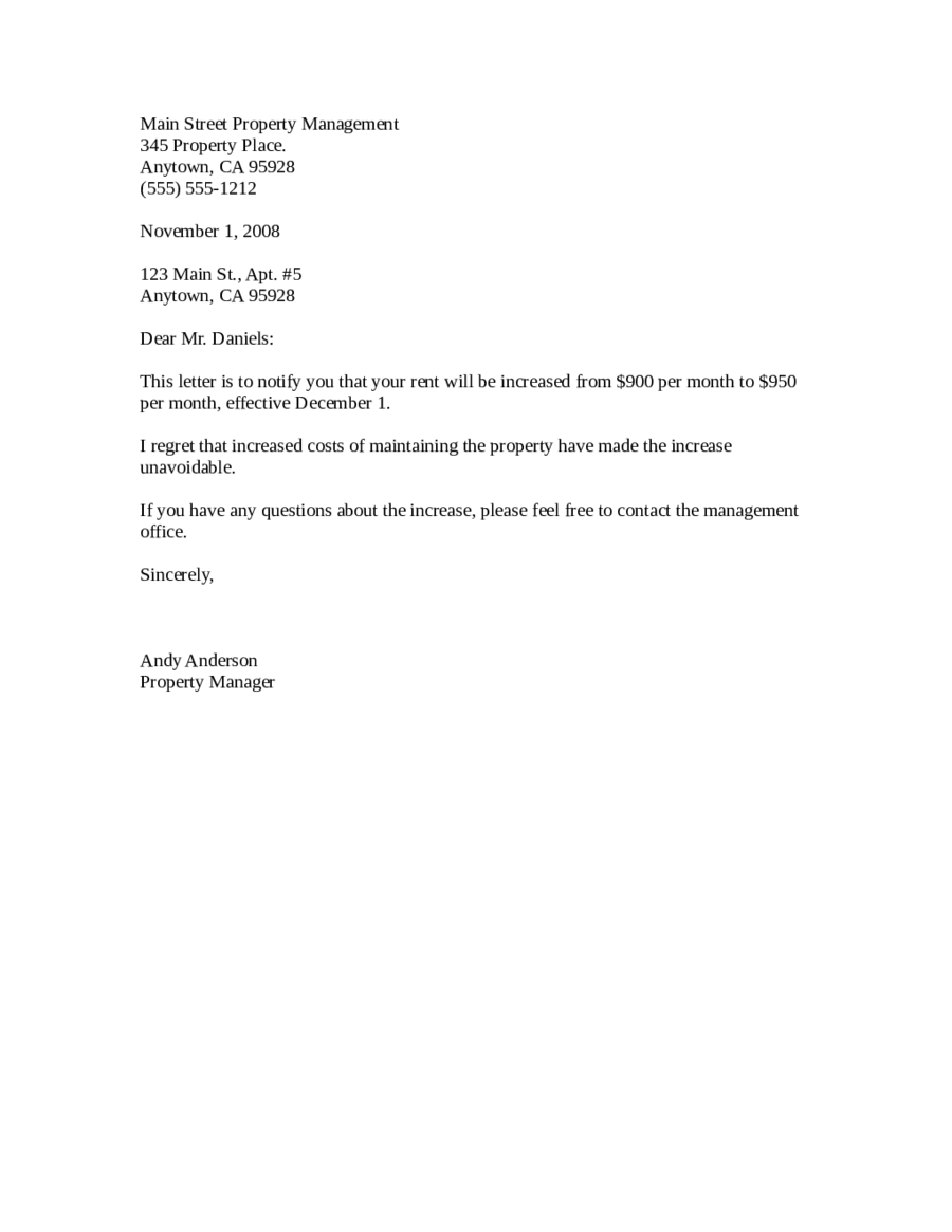 2020 Rent Increase Letter Fillable Printable PDF