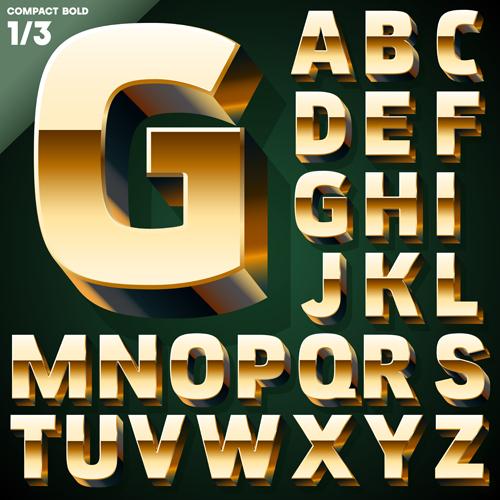 3D Gold Alphabet Vector Graphic WeLoveSoLo