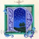 Alphabet Letter N Medieval Illuminated Letter N Painted