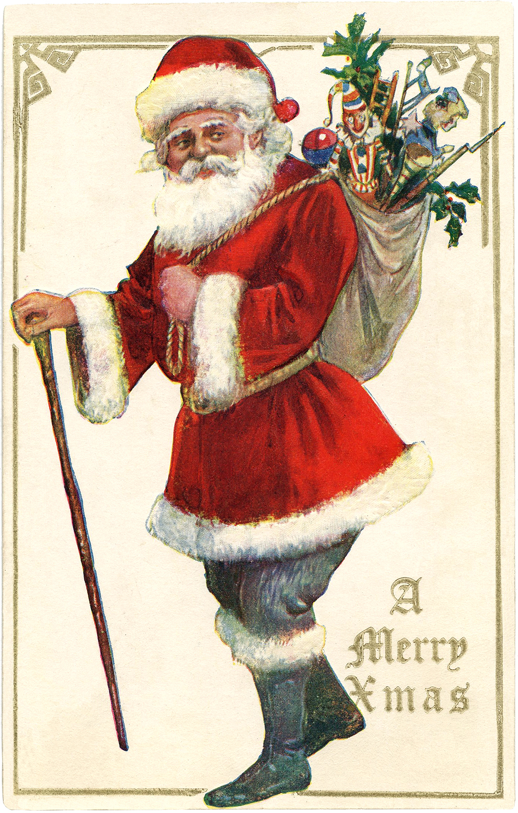 Antique Santa With Cane Image The Graphics Fairy