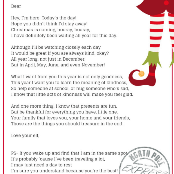 Arrival Ideas For Elf On The Shelf Welcome Letter
