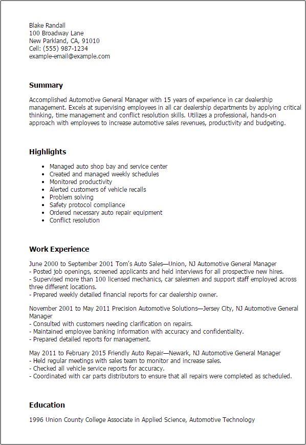 Automotive General Manager Resume Templates MPR