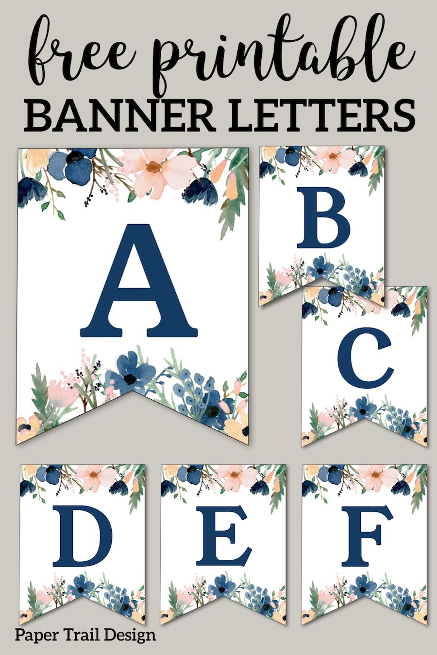 Blue Pink Floral Banner Letters Free Printable Free