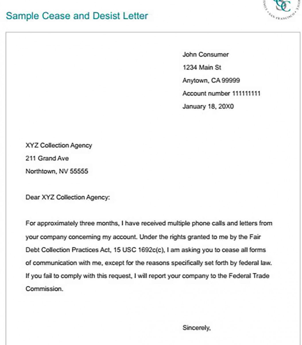 Cease And Desist Template Free Sample For PDF Doc Word