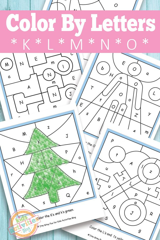 Color By Letters K L M N O Free Kids Printable