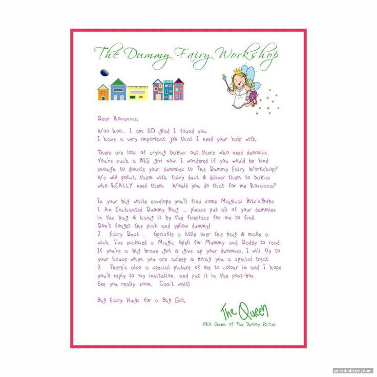 Dummy Fairy Letter Printable For Use Printabler