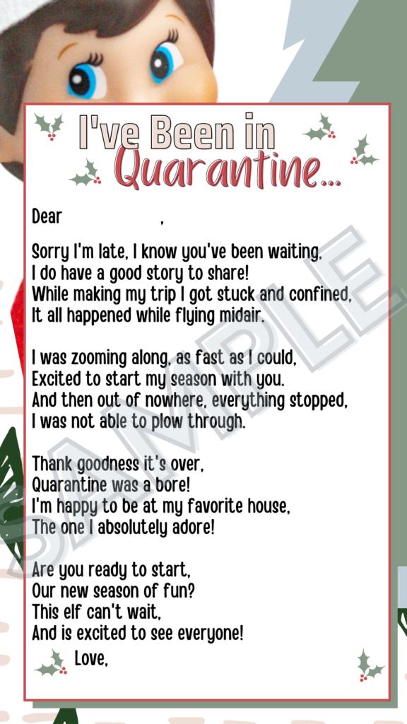 Elf Late Arrival Letter Quarantine