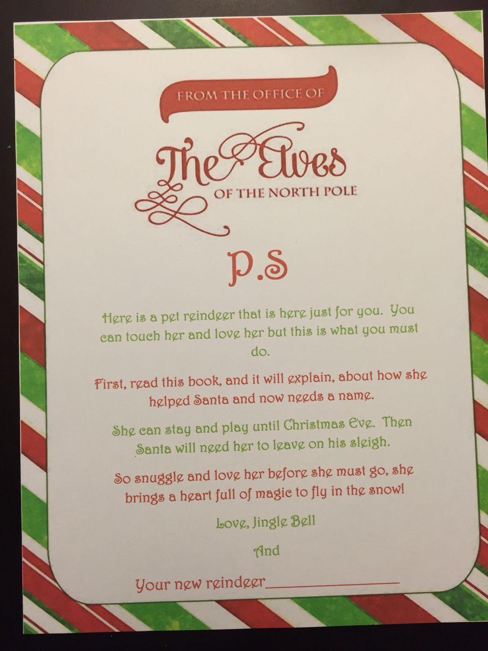 Elf On The Shelf Elf Pet Welcome Letter Day 1 Elf