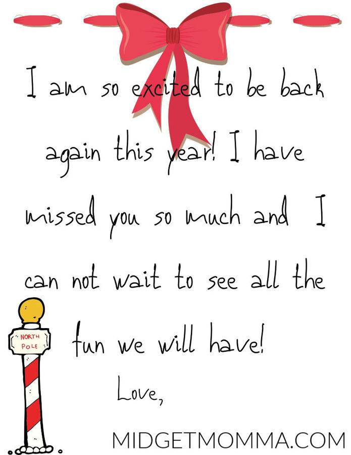 Elf On The Shelf I m Back Letter Printable MidgetMomma