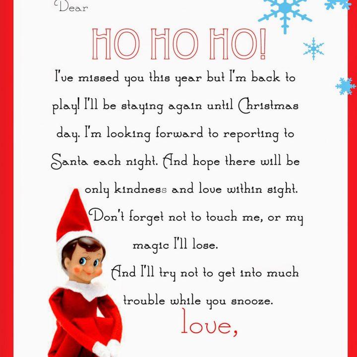 Elf On The Shelf Letter free Printable