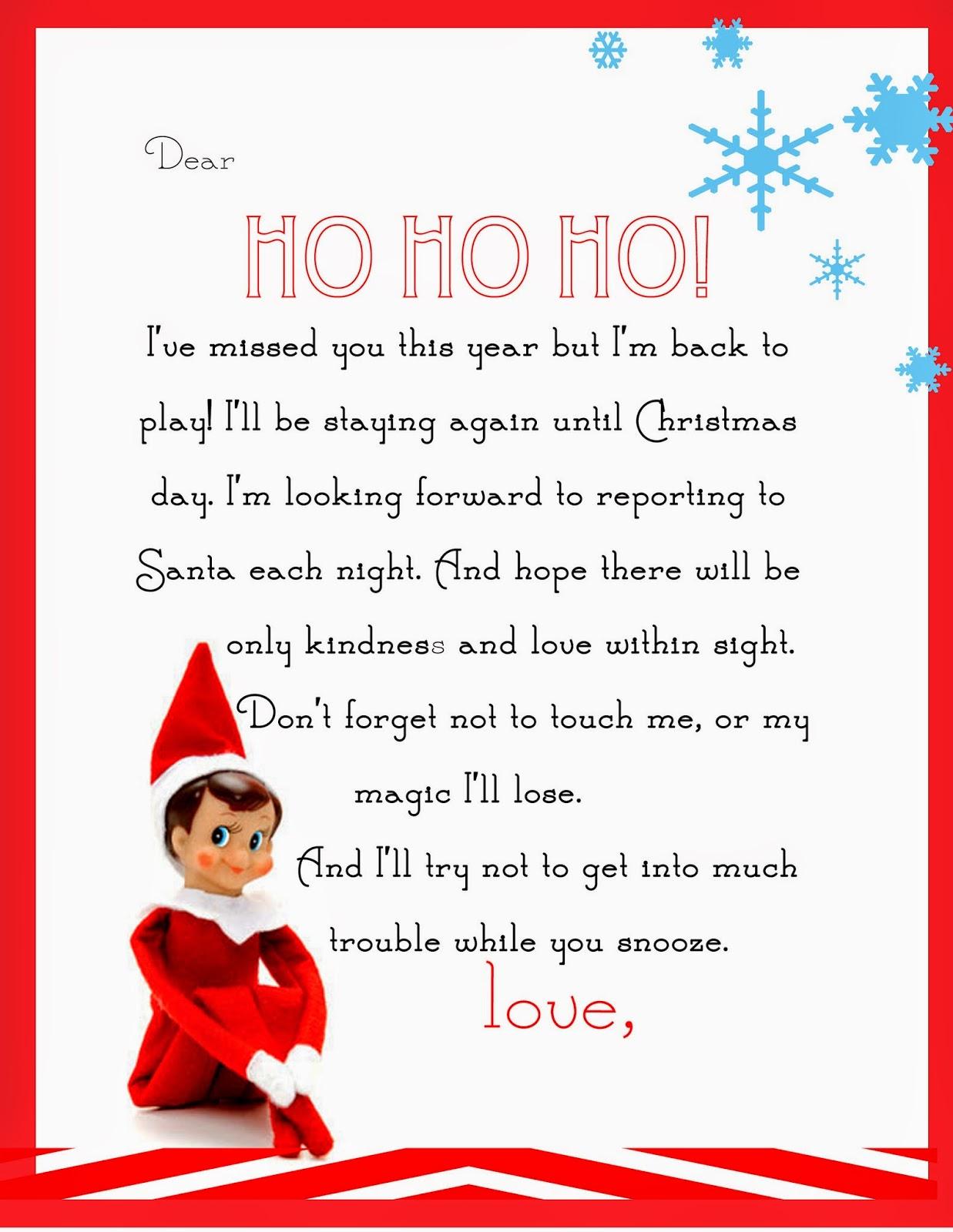 Elf On The Shelf Letter free Printable Yummy Mummy