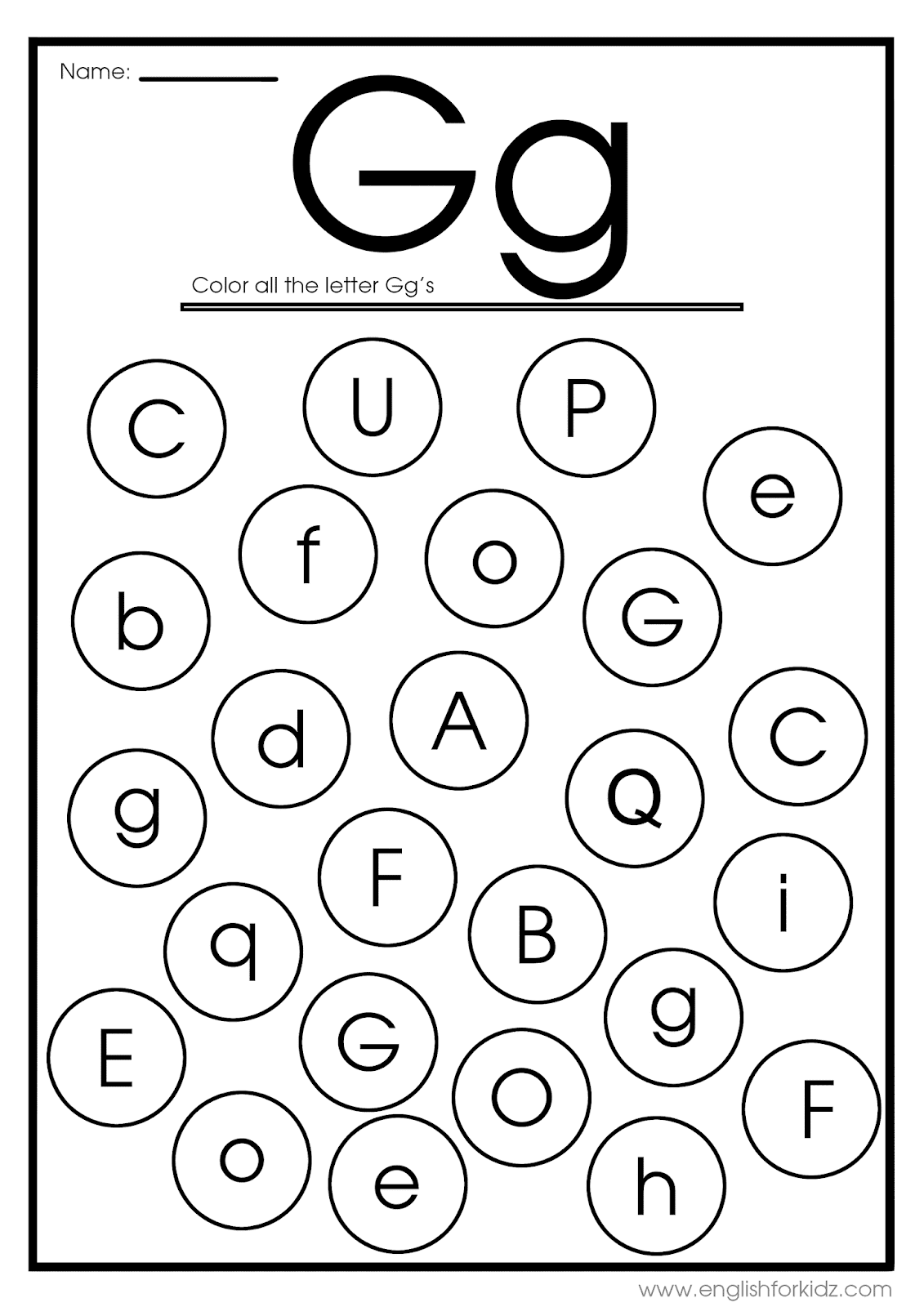 English For Kids Step By Step Letter G Worksheets Flash