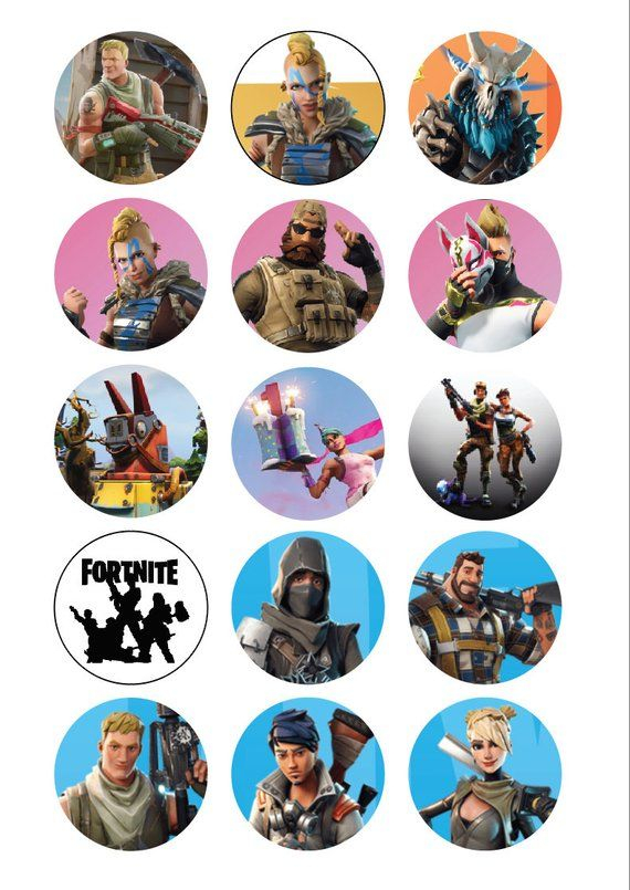 FORTNITE Cupcake Toppers Or Buttons Printable A4 Etsy