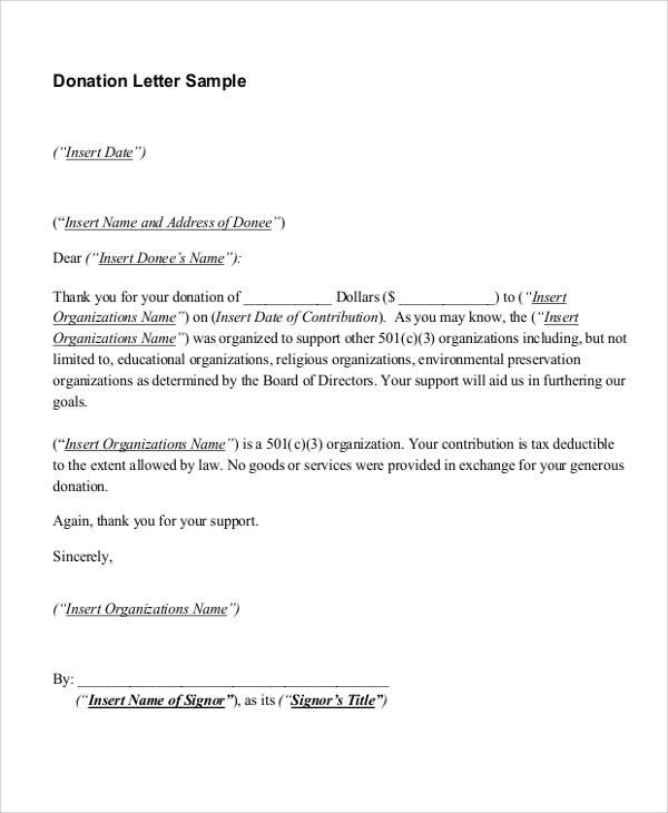 FREE 14 Sample Donation Letter Templates In MS Word PDF