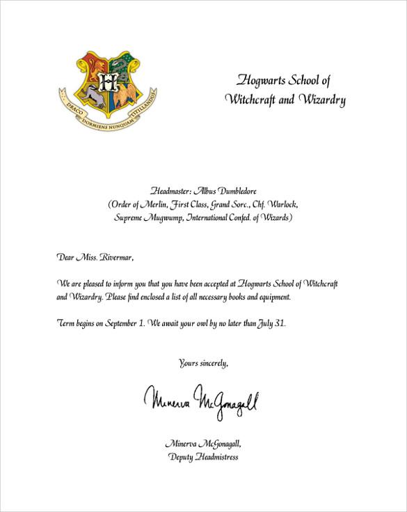 FREE 3 Sample Hogwarts Acceptance Letter Templates In PDF