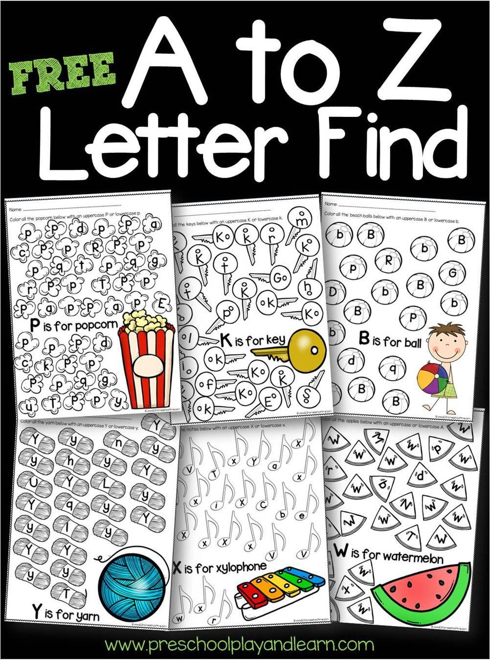 FREE A To Z Letter Find Worksheets Letter Recognition