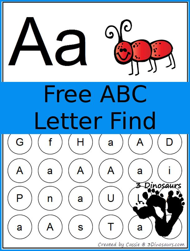 FREE ABC Letter Find Printable 3Dinosaurs Letter