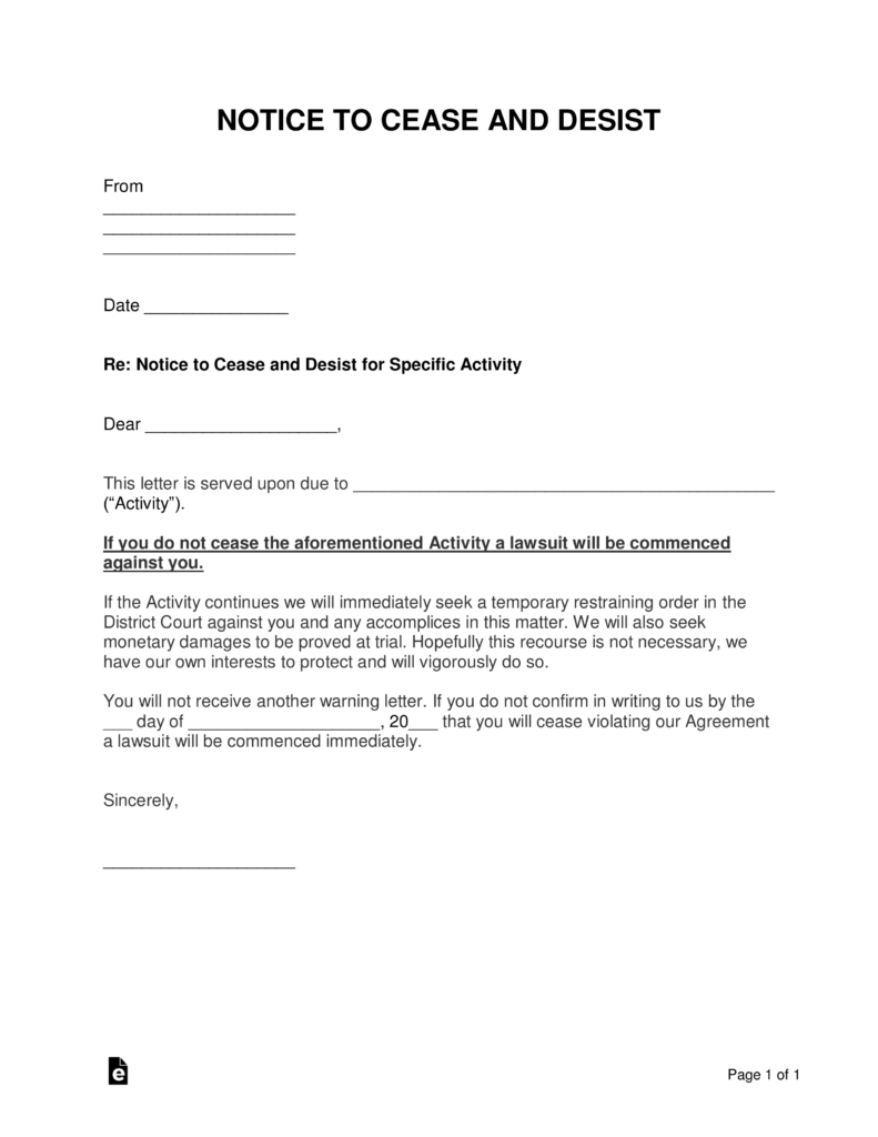 Free Cease And Desist Letter Templates With Sample Word