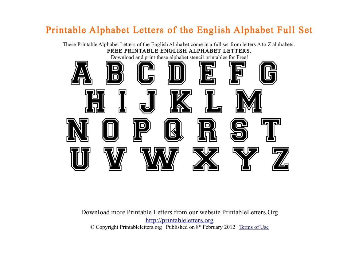 Free PDF Printable College Style Alphabets Printable