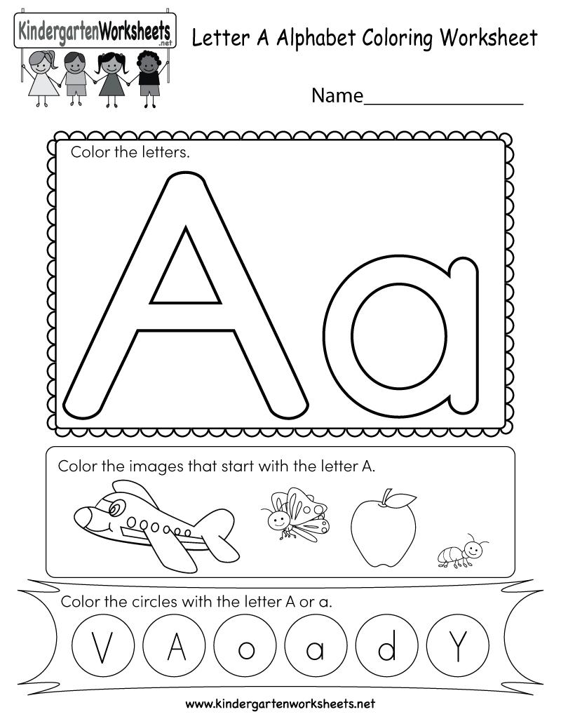 Free Printable Letter A Coloring Worksheet For Kindergarten