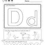 Free Printable Letter D Coloring Worksheet For Kindergarten