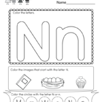 Free Printable Letter N Coloring Worksheet For Kindergarten