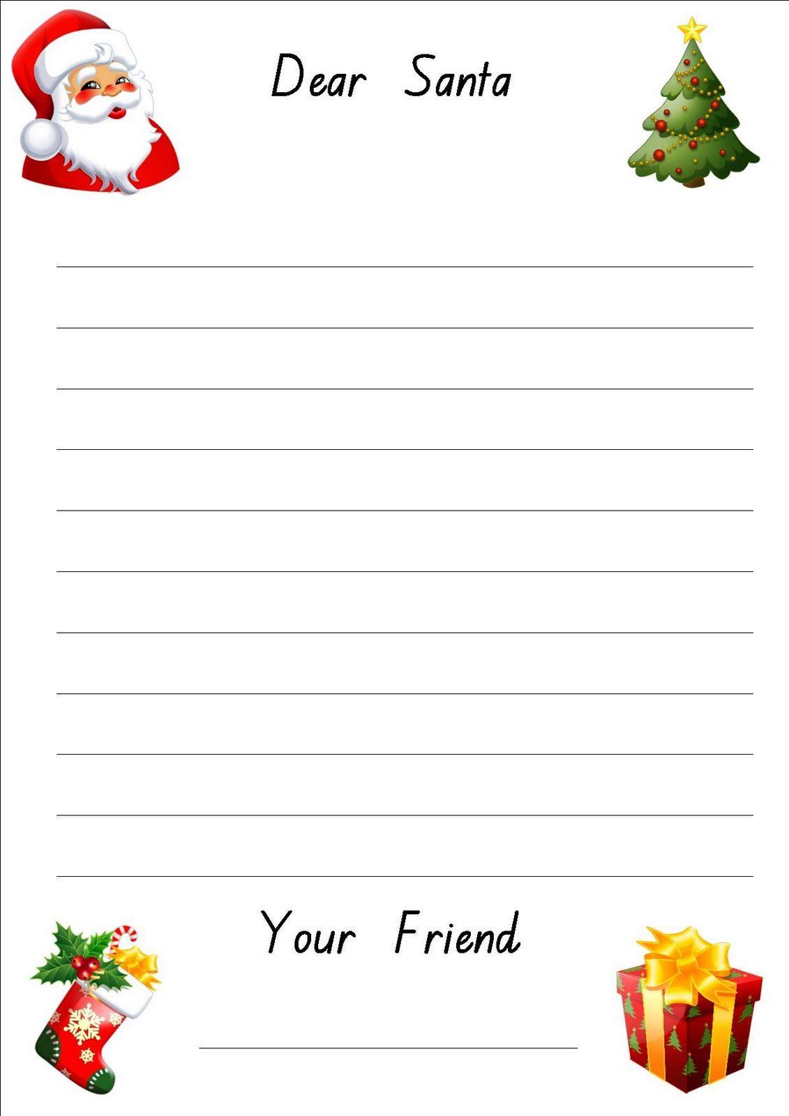 Free Printable Letter To Santa Paper Christmas Writing