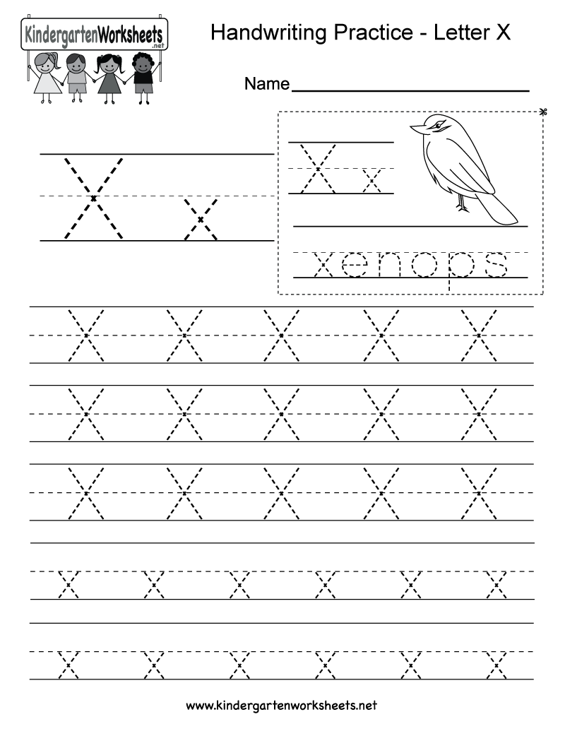 Free Printable Letter X Writing Practice Worksheet For