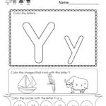 Free Printable Letter Y Coloring Worksheet For Kindergarten