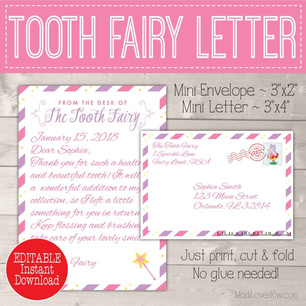 Free Printable Tooth Fairy Letter And Envelope Free