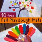 FREE Set Of 10 Fall Themed Playdough Mats Free