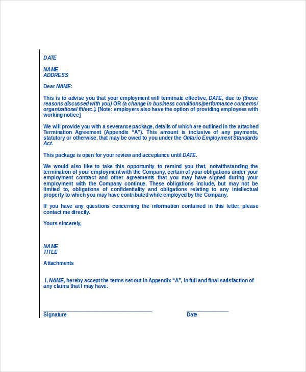 Free Termination Letter Templates 38 Free Word PDF